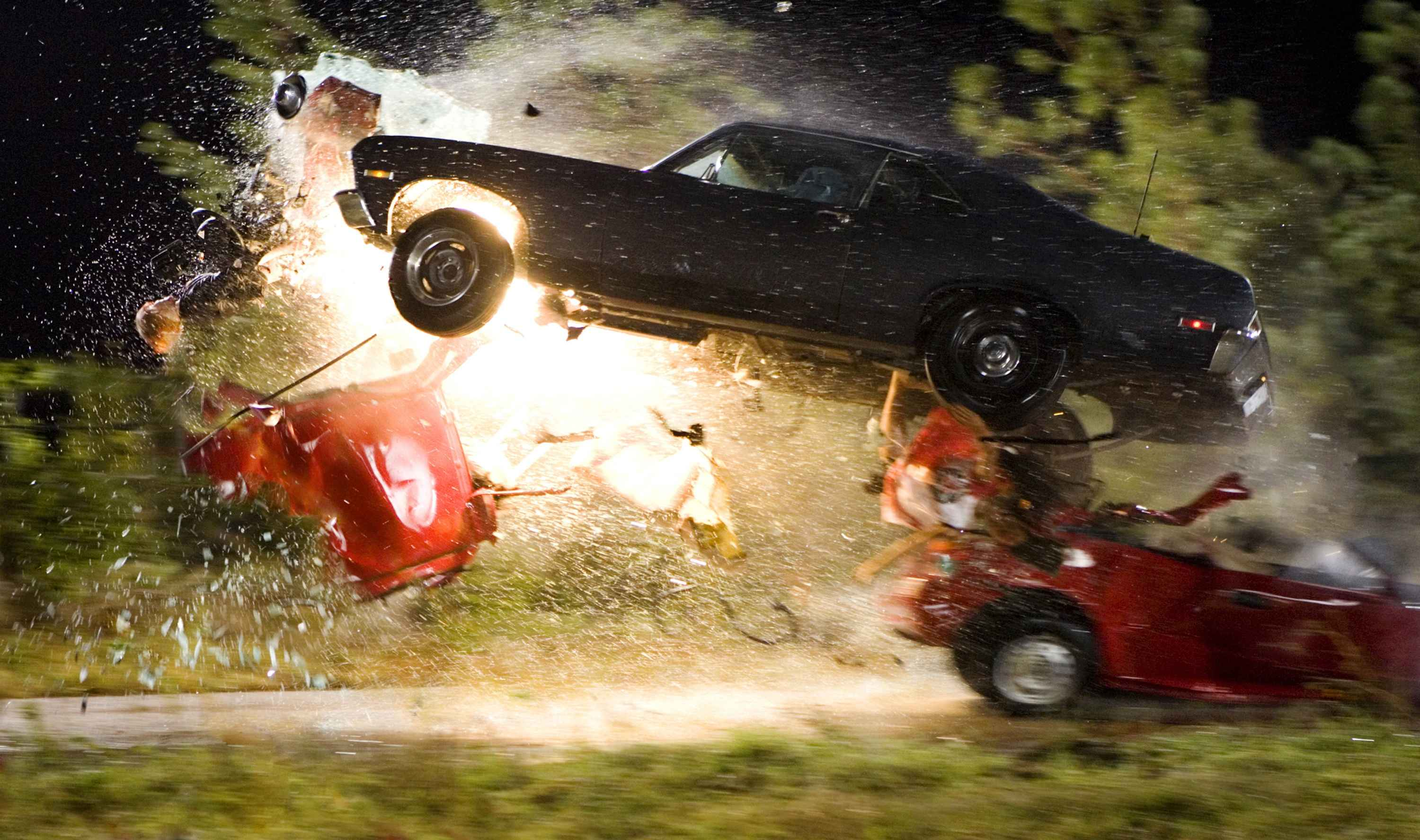 An explosive crash from Quentin Tarantino's Death Proof (Grind House).