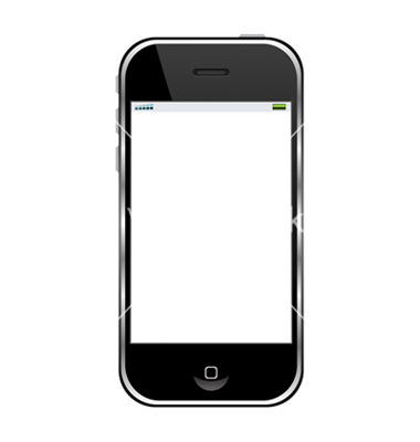 Modern cell phone isolated over white background