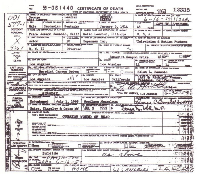 reeves death certificate